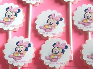 """30 BABY MINNIE MOUSE """"IT'S A GIRL"""" Cupcake Toppers Party Favors, Baby Shower 30"""