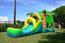 Commercial Grade 13' x 30' Palm Tree Wet Dry Combo Bounce House Waterslide Games