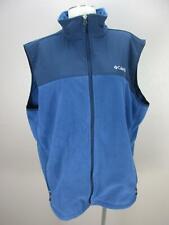 Columbia Size XL Mens Blue Full Zip Side Pockets PullString Nylon Fleece Vest278