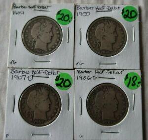 LOT Vintage Barber Antique Silver Half Dollars Coins 1906D 1900 1907O 1904 Money
