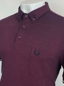Fred Perry   Short Sleeve Oxford Pique Polo Shirt L XL (Red) Mod Ska 60s Scooter