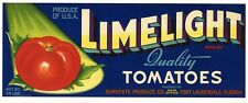 LIMELIGHT Brand, Fort Lauderdale, Florida, **AN ORIGINAL TOMATO CRATE LABEL**