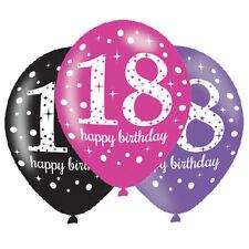 6 x 18° palloncini di compleanno NERA ROSA LILLA DECORAZIONI FESTA 18 anni