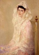 Oil painting jose benlliure y gil - retrato de maria benlliure ortiz young lady