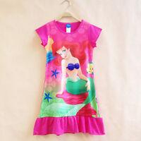 Girl Kid Moana Elsa Sleepwears Princess Mini Dress Pyjamas Nightwear Nightgown