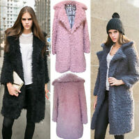 Women Long Sleeve Warm Loose Wool Blend Sweater Jumper Cardigan Outwear Coat