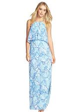 Vince Camuto Blue Sky Multi Chiffon Halter Summer Maxi Social Dress Size 8