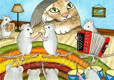 ACEO art print from funny art painting Cat 431 mouse mice party by L.Dumas