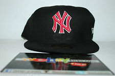 New Era New York NY Yankees Black Red Size 8 Fitted Cap Hat New