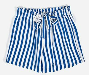 J Crew Factory Striped Lined Paper Bag High Waist Pull-on Shorts with Pockets S
