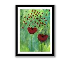 Poppy field  - Acrylic abstract painting unique gift (Print) ID : 1453