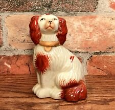 Staffordshire Red & White Spaniel Dog Miniature Porcelain Figurine