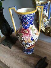Grand vase à anses en faïence de Gien modèle Pivoines à restaurer