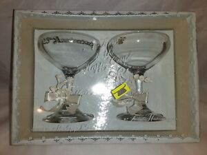 25th Wedding anniversary Glass Set sterling silver treasure master of derry tw