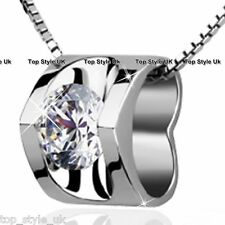 925 Sterling Silver Hollow Heart with Crystal Diamond Necklace Pendant Jewellery