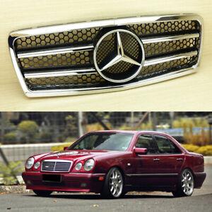E300 E320 E430 Benz W210 Front Grill Chrome Shiny Black Pre-Facelift 1996-1999
