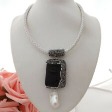 "GE060407 18"" White Leather Necklace Keshi Pearl Black Jasper Buddha Pendant"