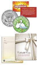 """Stork"" Baby Gift  Keepsake JFK Kennedy Half Dollar U.S. Colorized Coin"