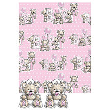 Baby Girl Gift Wrap Teddy Bears 2 Sheets & 2 Teddy Tags Pink Wrapping Paper Pack