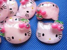 20 Resin Hello Kitty Flatback Bead/Cherry-Pink