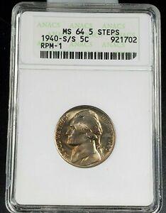 1940 S S/S Jefferson Nickel Variety Coin MS64 5FS RPM 001 FS-501 ANACS CH/GEM BU