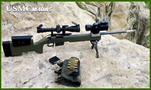 G_8024A M40A5 Action Figure Sniper Rifle Gun Model Infantry Army Green 1:6 Scale