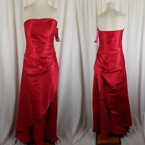 Morgan & Co. Gathered Maxi Satin Beaded Floral Formal Dress Womens 10 Vintage