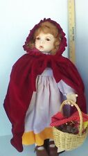 "Porcelain Doll by Tibby 22"" Little Red Riding Hood"