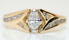Women's 14K Gold .50 Ct Marquise Sol. Diamond Wedding/Engagement Ring Size 7.5