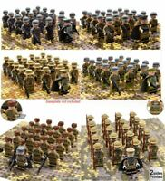 21pcs WW II British Russian Italian Soldiers Mini Figures Army Fit LEGO