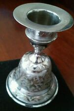 Satin Brass Etched Bells Taper Candleholder  Z.Y. India