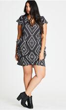 CITY CHIC black + white zip tunic dress EUC Sz XS / 14 BUY 5 items = Free Post
