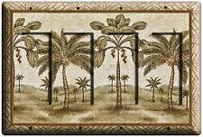 EXOTIC FLORIDA PALM TREES QUAD QUADRO GFI DECORA LIGHT SWITCH COVER WALL PLATE