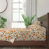 Rustic Fall Woodland Mushroom Leaves 100% Cotton Sateen Sheet Set by Roostery