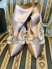 New Victorian Peach Pink Over The Knee Socks Embellished Boots Size 9