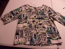 NWT Lantana Casuals Sz S Linen Print 3/4 Sleeve Button Front Shirt Blouse NEW