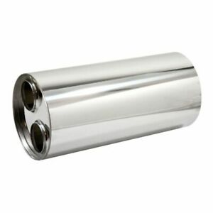 Universal 304 Stainless Steel Exhaust Silencer, Round, Centre to Twin Variants