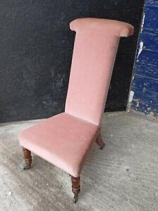 Beautiful ~Antique ~Victorian ~High Back Chair ~Prayer Chair ~Pink ~VGC