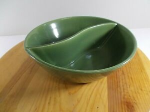 "Bauer Pottery  Avocado Green Divided Bowl 8-1/2"" x 2-1/2"" Deep Divider S Shaped"