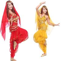 Belly Dance Costume Set Top & Pant & Hip Scarf & Veil Shawl with Golden Coins