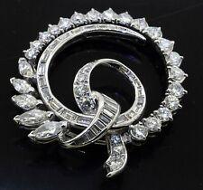 Heavy Platinum 5.17CT VS diamond spiral cluster wreath brooch