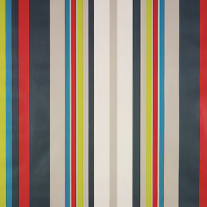 Red Taupe Blue Multi Stripe PVC Vinyl Wipeclean Tablecloth Many Shapes & Sizes