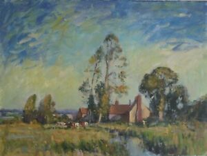 """Landscape Oil Painting after Edward Seago. Oil On Canvas. 12""""x16"""". Unsigned."""