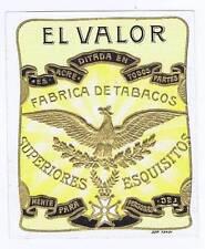 El Valor, original outer cigar box label, eagle