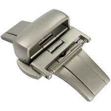 18mm Hadley-Roma Matte Satin Stainless Steel Butterfly Deployant Clasp Buckle