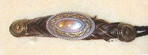 "4"" Braided Horsehair Barrette w/ Fancy Large Concho Center Brown Medium #07"