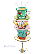 "Beautiful ""Spot of Tea"" Tea Cups Designer Wall Clock by Allen Designs"