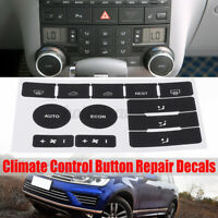 Black Climate Control Button Repair Decals Stickers For VW Touareg 2004-2009