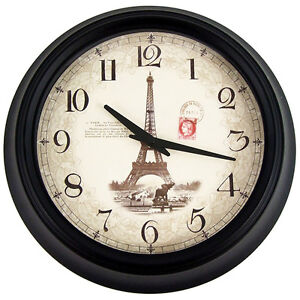 36 cm Paris Eiffel Tower Retro Clock Vintage Designer Home Decor Silent Quartz