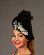 Black Twisted High Fascinator with White Lace Motif & High Feathers - BNWT